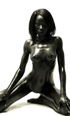 Black Amina is a Skinny Oiled Ebony